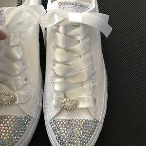 White bride wedding converse with custom crystals